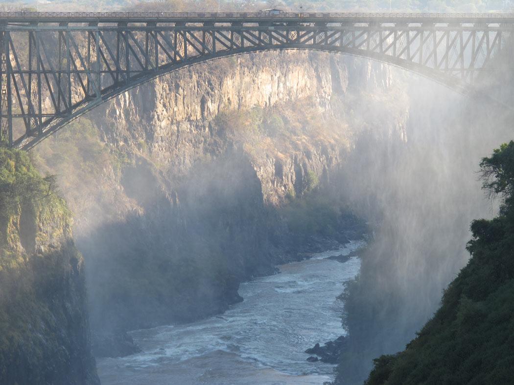 A bridge over a gorge at Victoria Falls
