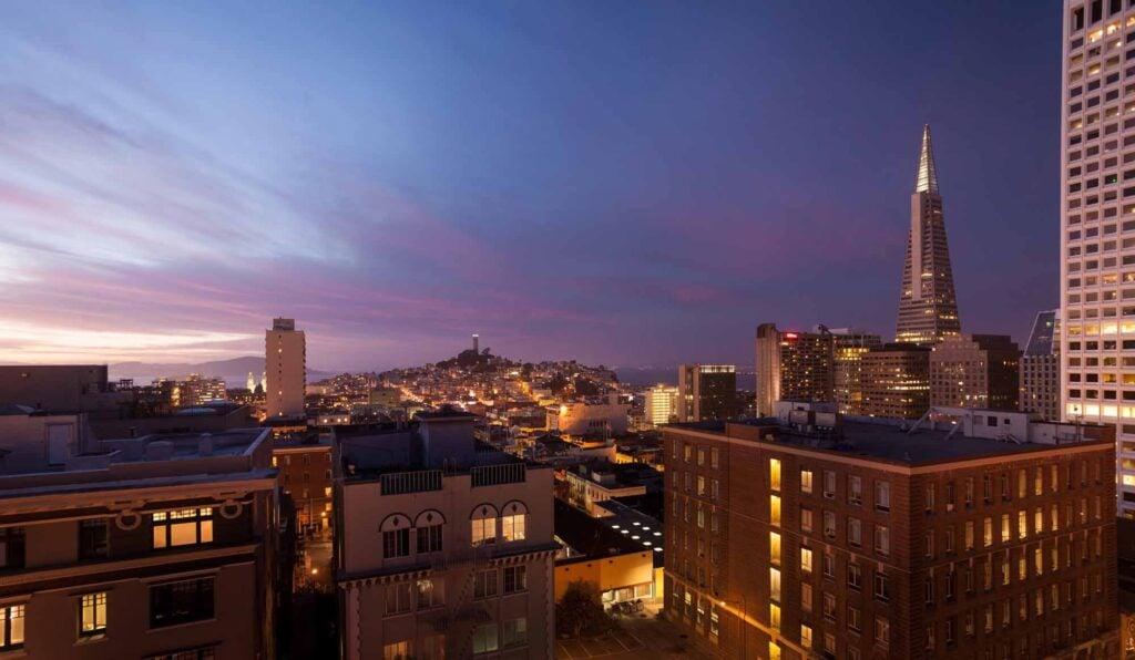 View of San Francisco at night from a guest room at the Ritz-Carlton San Francisco