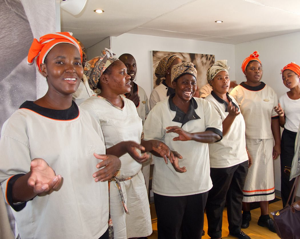 Smiling staff welcomed us onboard the Zambezi Queen with African songs.