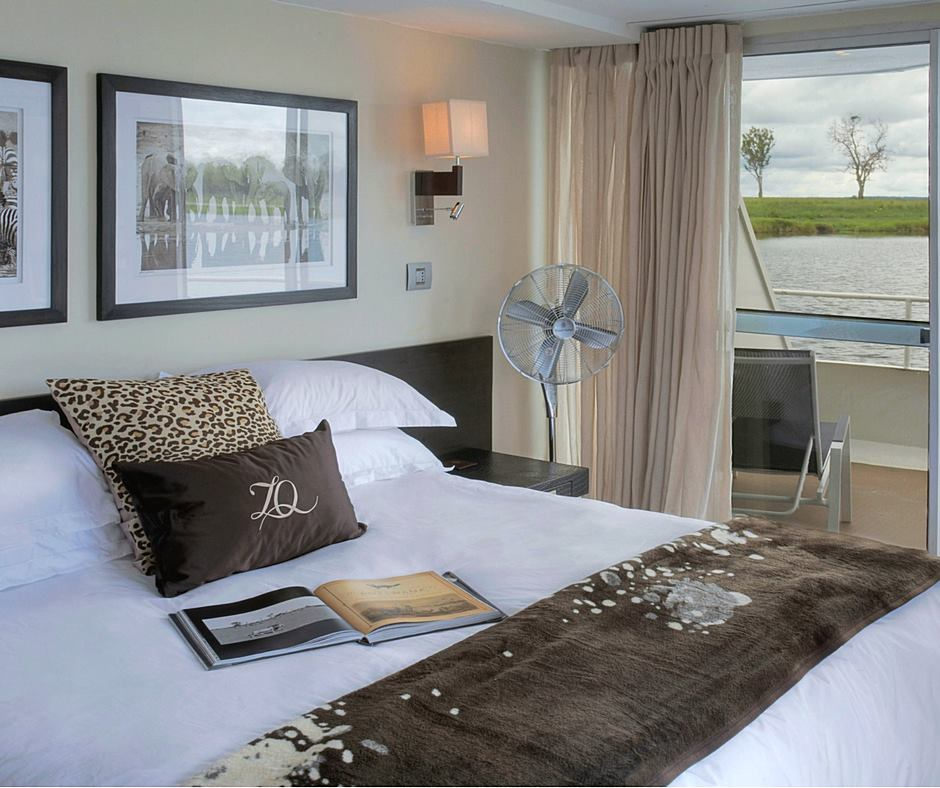 Zambezi Queen staterooms have balconies for sitting out and enjoying the views.