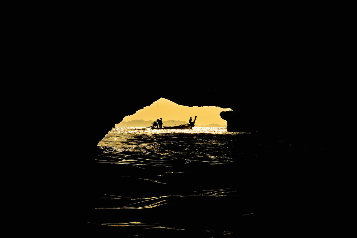 Many sea caves we enter on our sea canoeing Phang Nga Bay tour are much smaller than this cave.