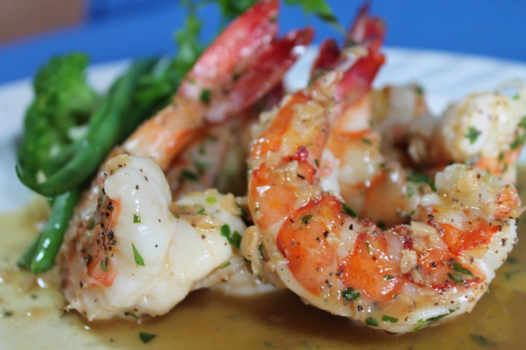 Grilled giant prawns in lemon butter are popular at Daiquiri Dick's, Puerto Vallarta.
