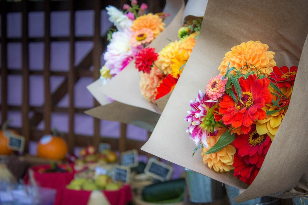 Flowers for sale at the popular Salt Spring Island Saturday Market