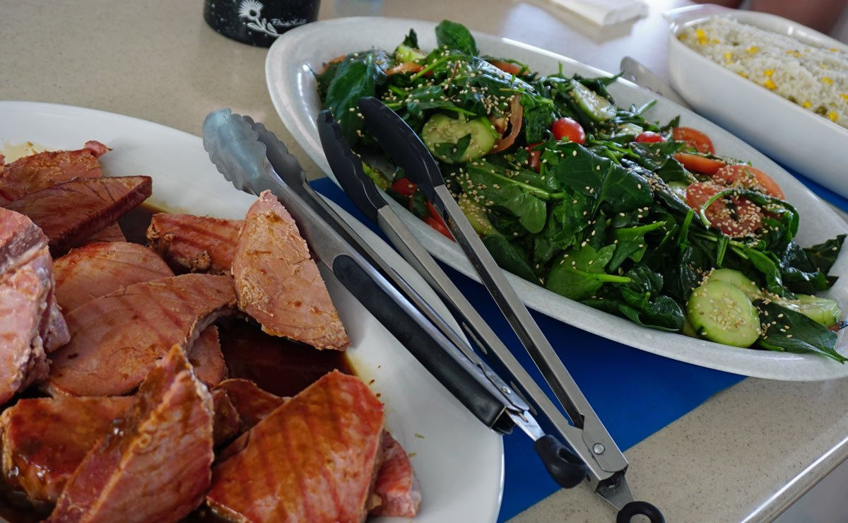 "Seared tuna and spinach salad onboard the ""Island Cat"" on our La Paz whale shark tour with Baja Charters"
