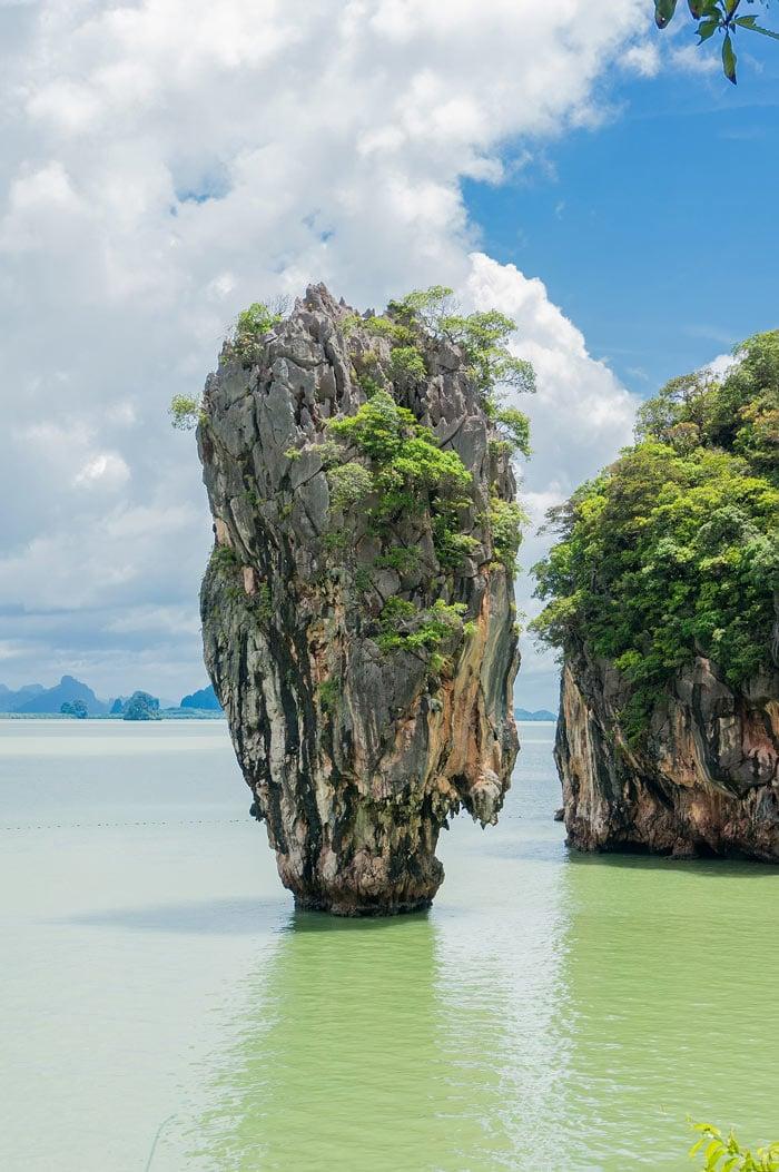 Phang Nga Bay is sprinkled with tall limestone karsts.
