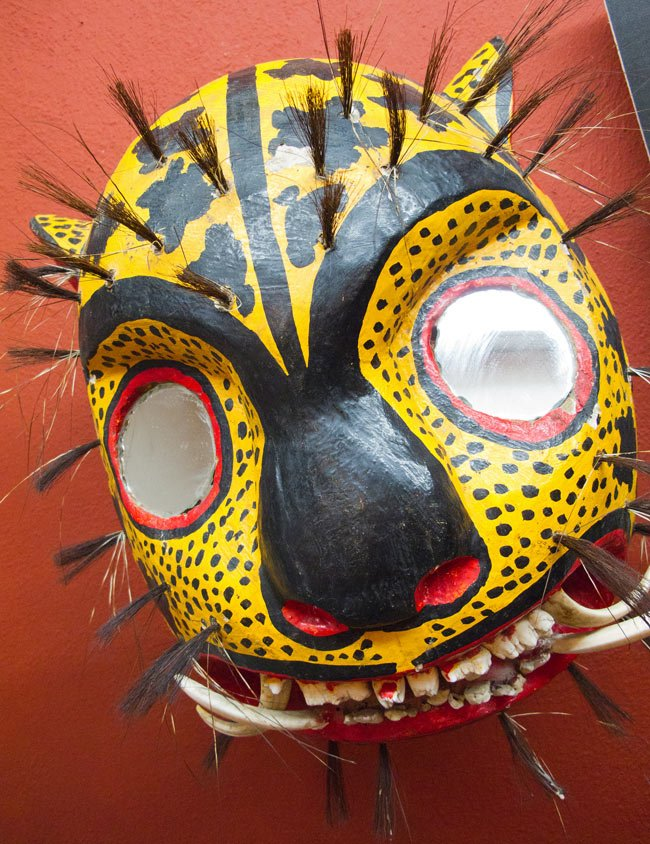 Jaguar head mask at the San Miguel de Allende mask museum