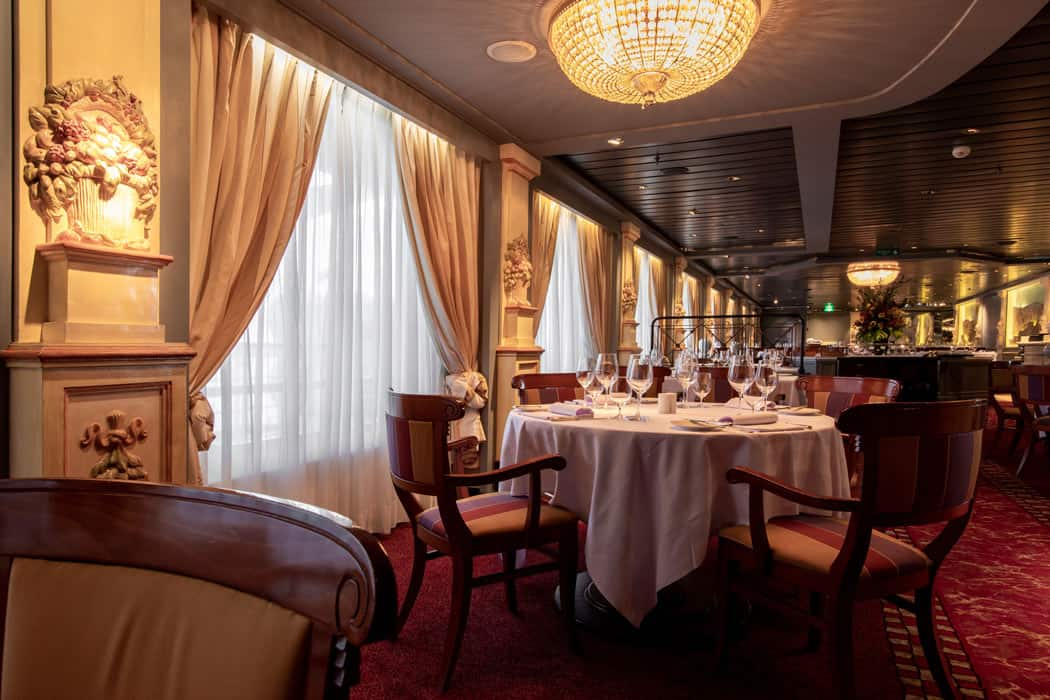 Prego is the popular Italian restaurant on the Crystal Serenity cruise ship.
