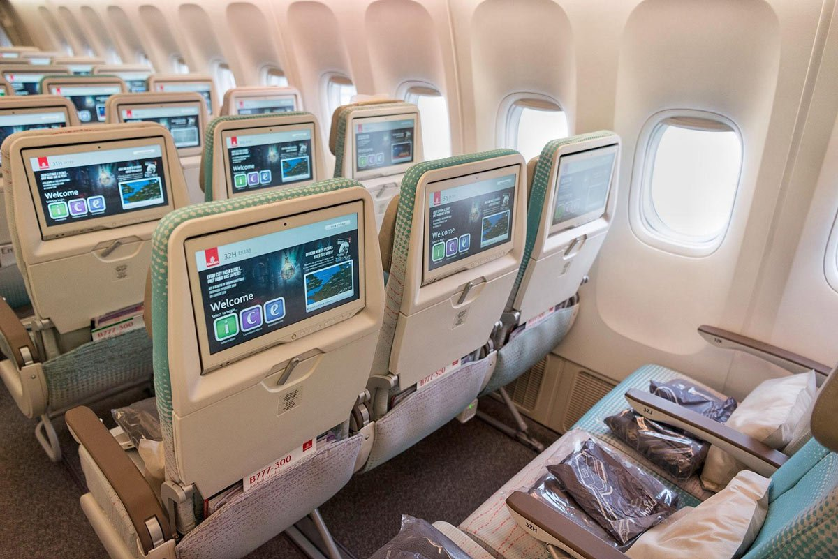 Emirates' Economy Class seats are configured 3-4-3 on the 777-300ERs (Credit: Emirates Airlines)
