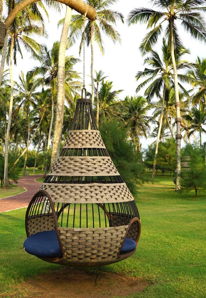Swaying in the hanging birdcage chairs at Shangri-La Hambantota, Sri Lanka, is very chill.