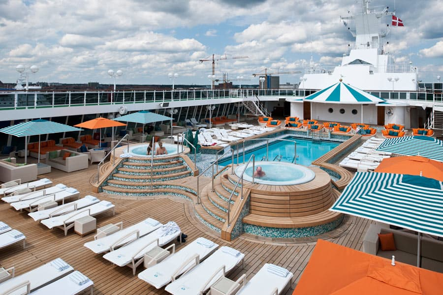 The Seahorse Pool is a popular place to hang out on the Crystal Serenity.