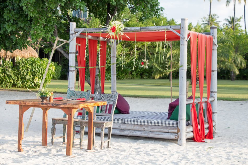 A table is set for dinner on the beach at Tugu Lombok, Indonesia.