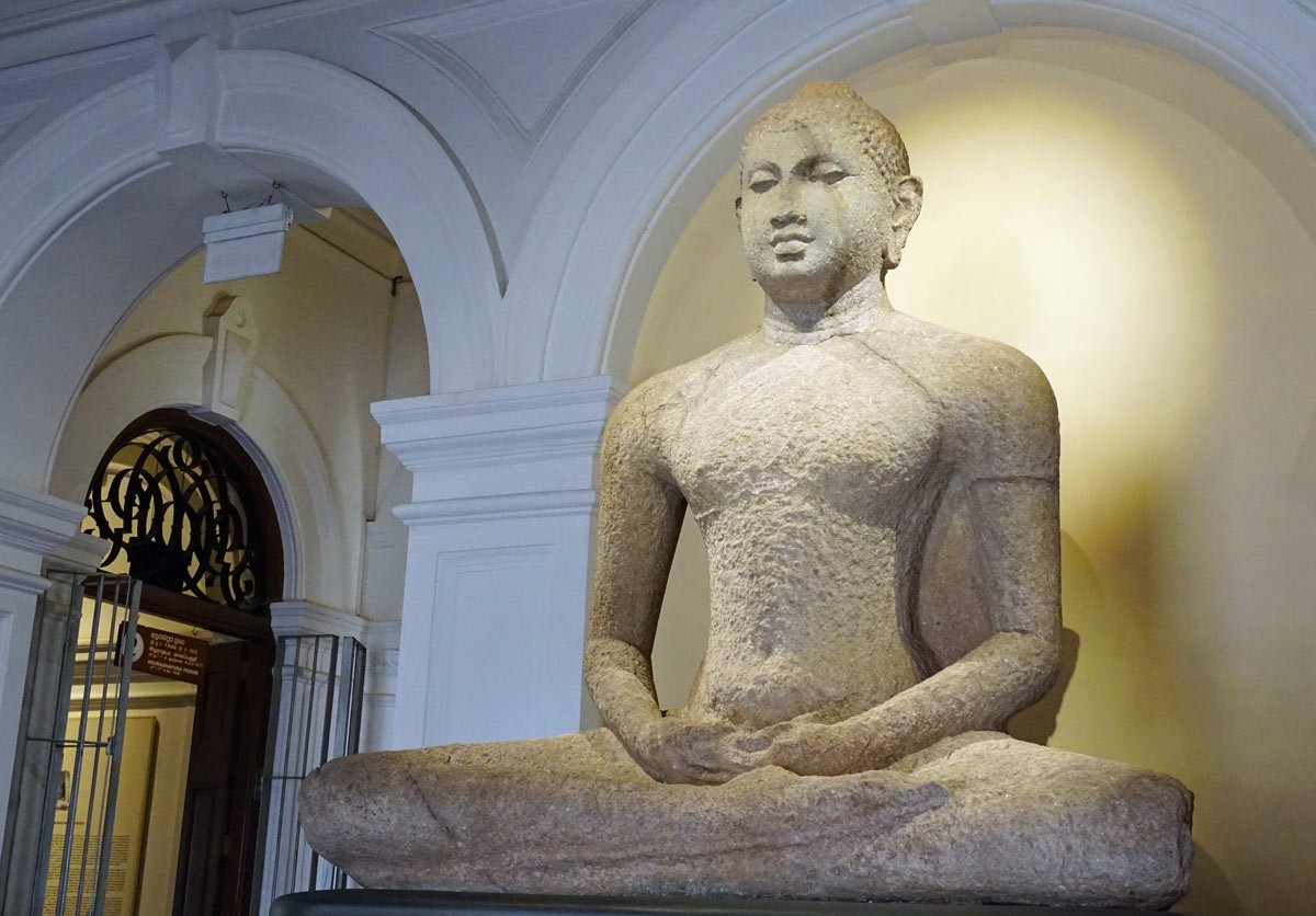 A 9th-century Buddha welcomes you at the entrance of the National Museum of Colombo.