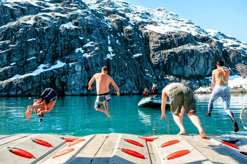 Up for a polar plunge? Go for it on your Alaska UnCruise.