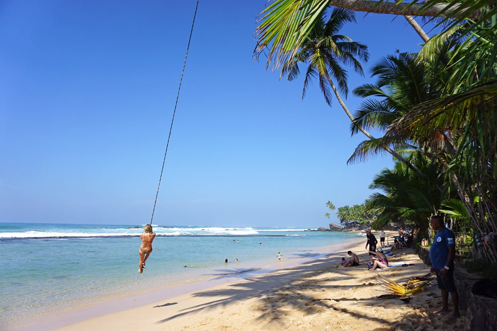 Rope swing on Dalawella Beach