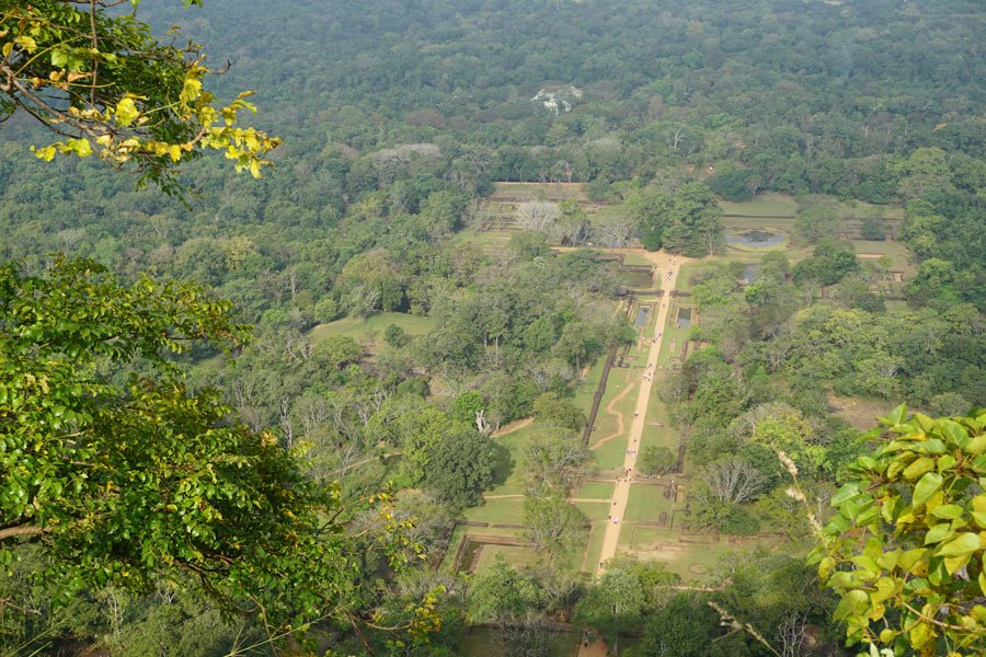A bird's eye view of the gardens and water pools below Sigiriya Rock