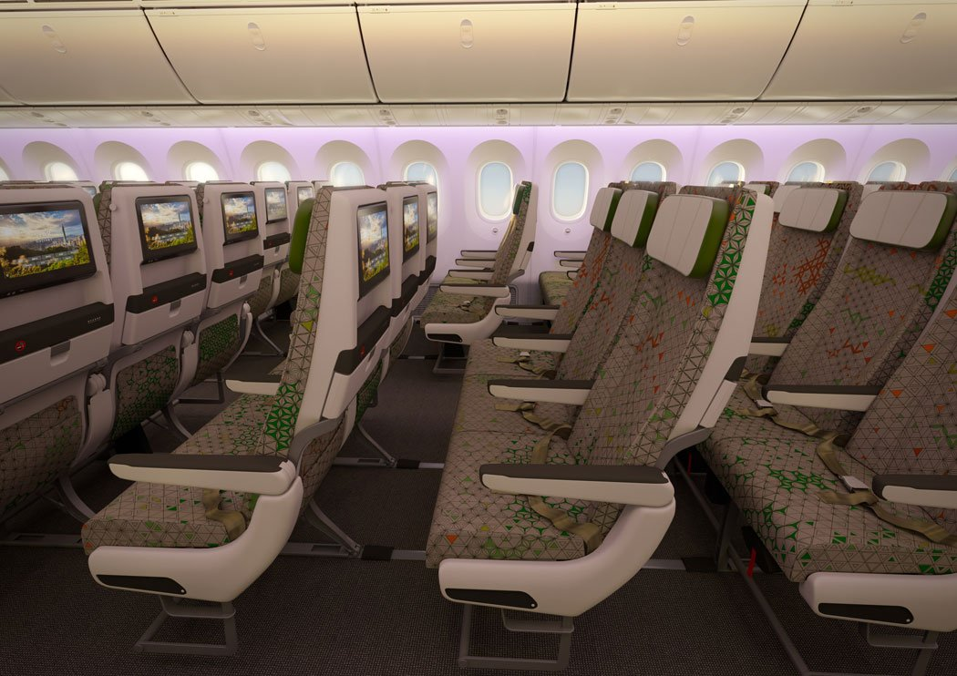 EVA Air's Boeing 787-9 Dreamliner has nine seats in a row, configured 3-3-3.