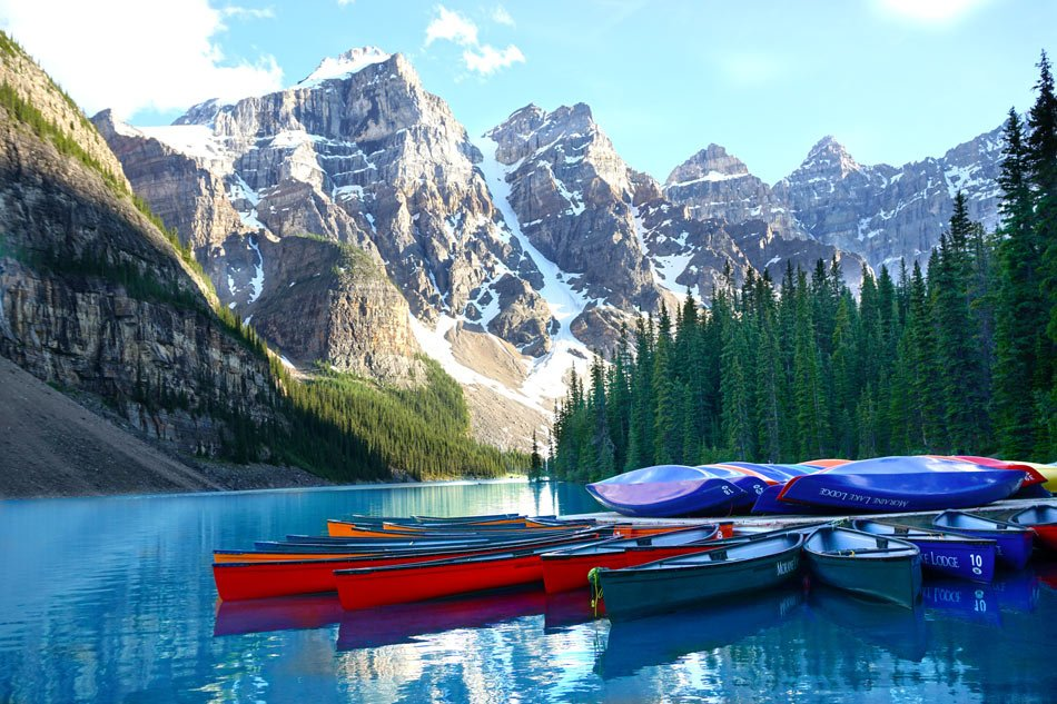 Near Lake Louise, glacier-fed Moraine Lake is an impossibly turquoise color.