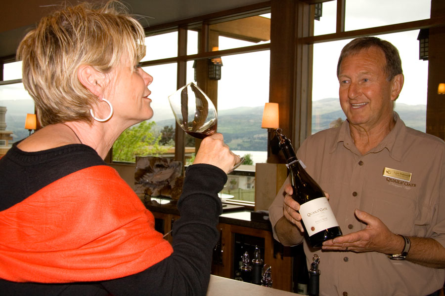 Wine tasting at Quail's Gate Winery, one of the best Okanagan wineries.