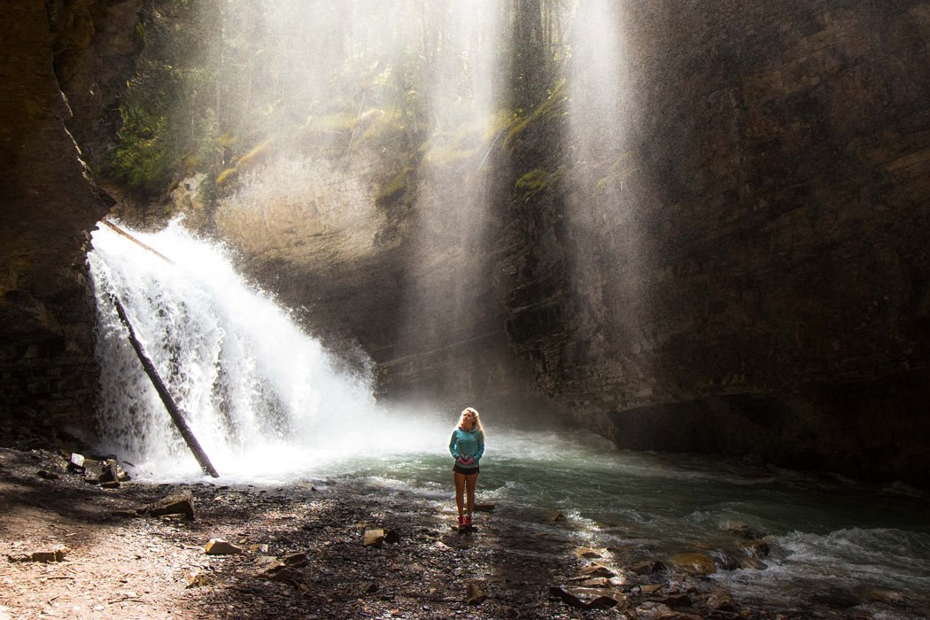 The 1.5 mile Johnston Canyon hike ascends up the canyon edge past seven spectacular waterfalls.
