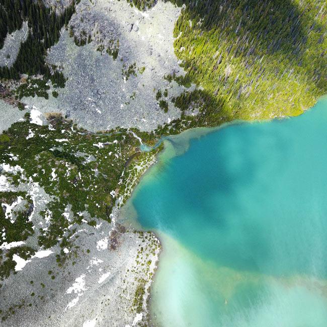 A bird's eye view of Upper Joffre Lake