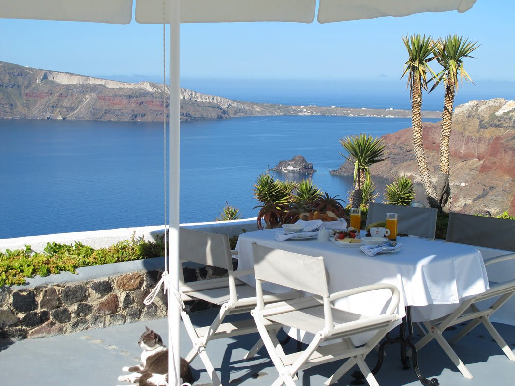 Breakfast on the terrace of Ikies Traditional Houses - killer views and a cuddly cat too!