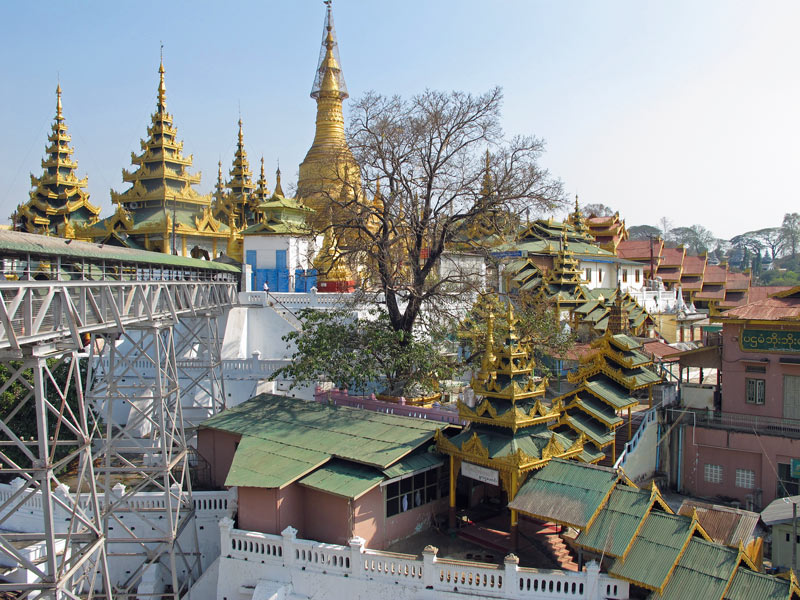 A ramp leads from the top of the elevator to the base of the Shwesandaw Pagoda