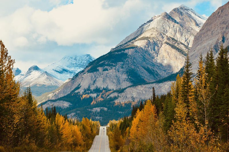 The Icefields Parkway, Alberta, is one of the best sights near Jasper National Park.