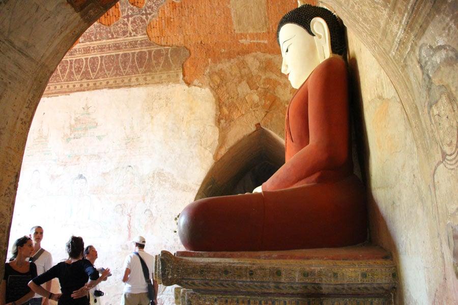 Buddha statue inside a pagoda in Bagan