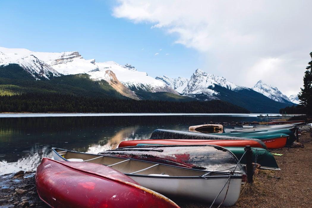 Maligne Lake canoes