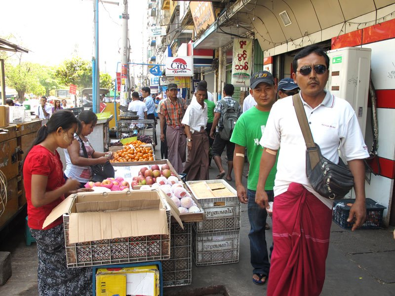 There's lots of sidewalk shopping in Yangon!