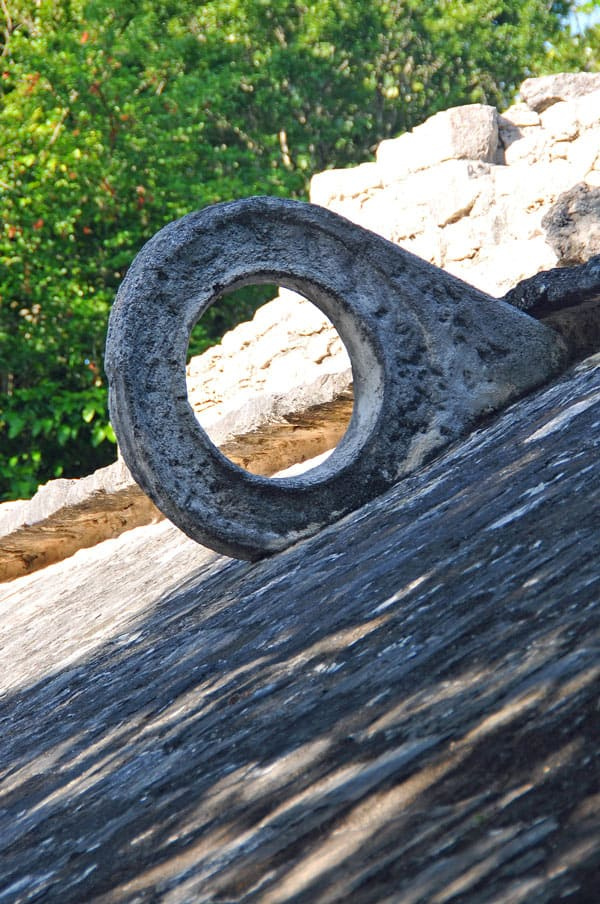 A stone pok ta pok hoop at the Chichen Itza ruins