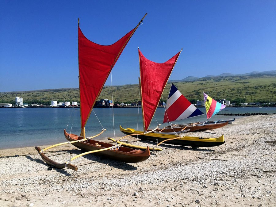 Outrigger canoes with crab claw sails