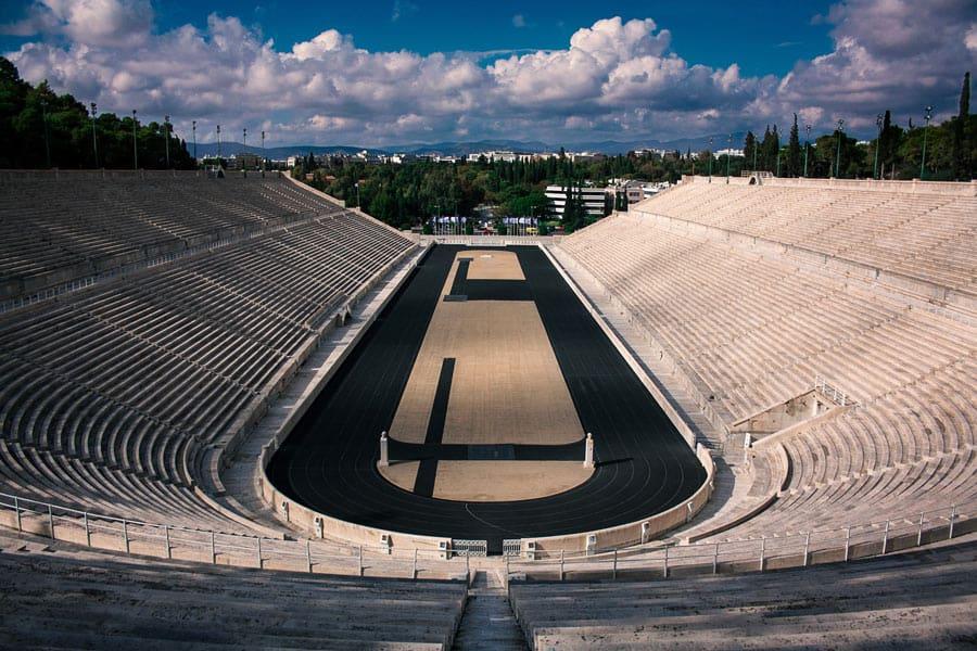 One of the cool things to do in Athens is to run around the Panathenaic Stadium.thenaic Stadium