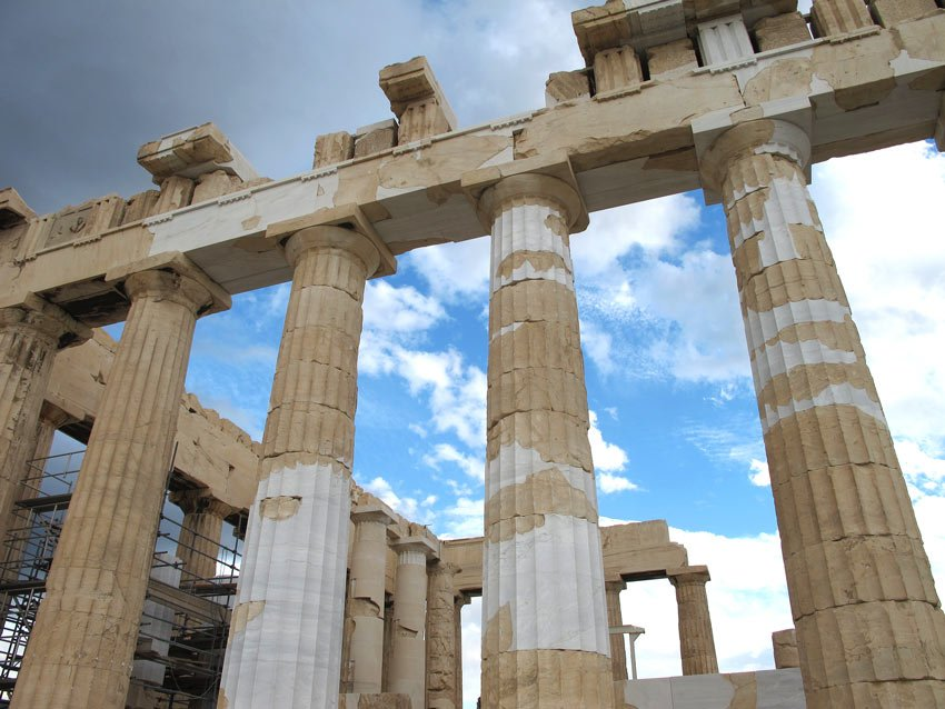 You can easily see what is original and what has been rebuilt on the Parthenon from the different colors of stone.