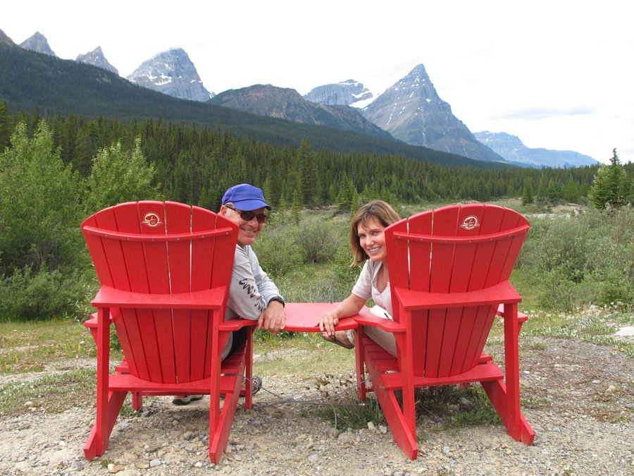 Canadian national parks red chairs in Jasper National park