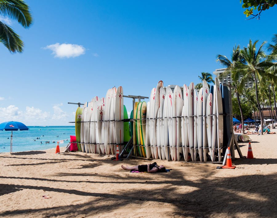 Surfing in Oahu is popular at Waikiki Beach.