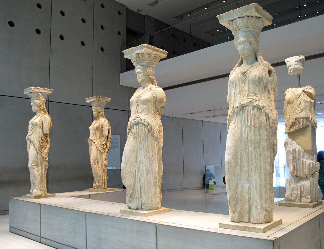 The lovely Caryatids at the Acropolis Museum (their new home)