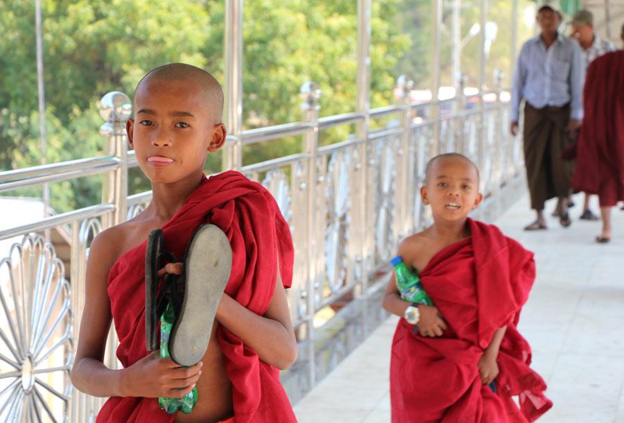 Two little monks in Myanmar