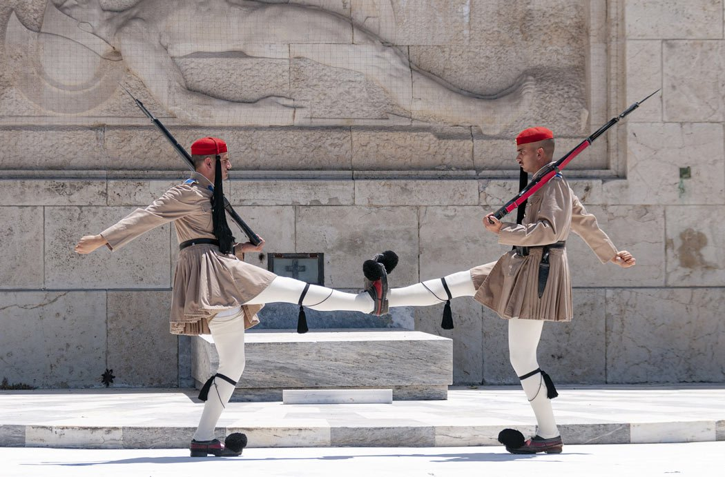 Fun facts about Greece: The Evzones guards wear pom-poms on their shoes.