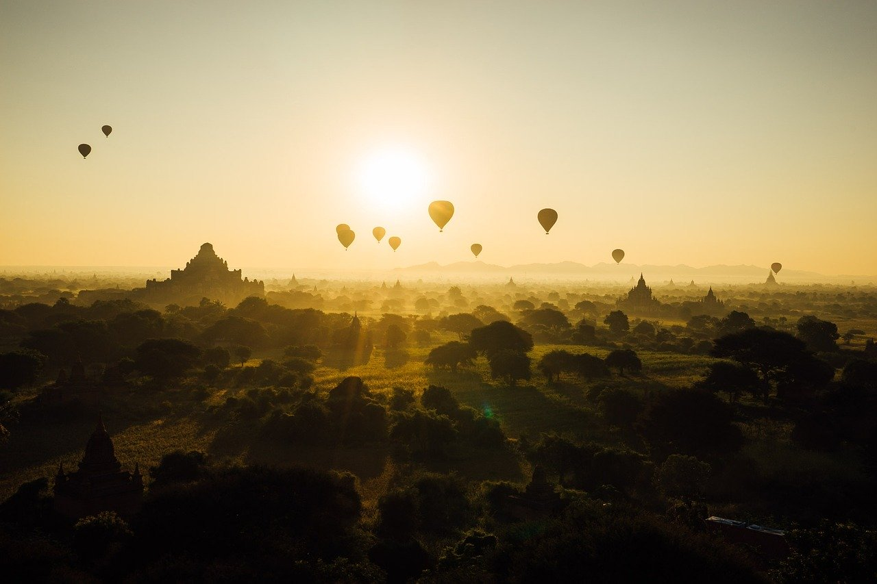 Hot air ballooning in Bagan, Myanmar