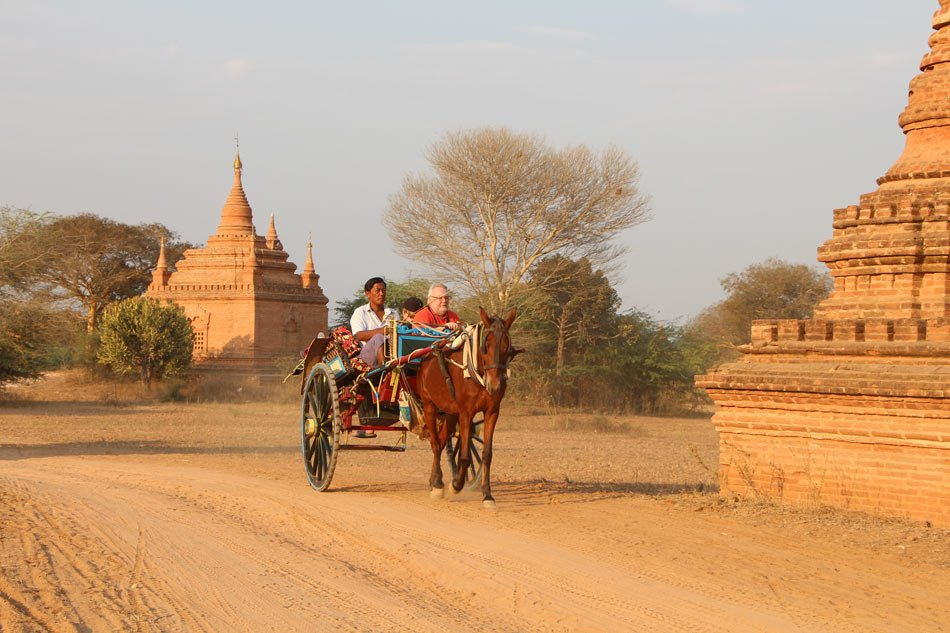 The best way to visit the temples in Bagan is by horse and buggy.