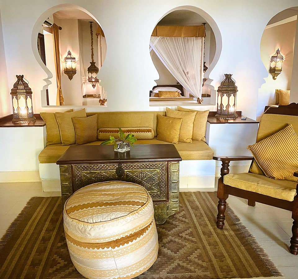 Each Baraza Resort villa has a separate living room with an alcove for a daybed