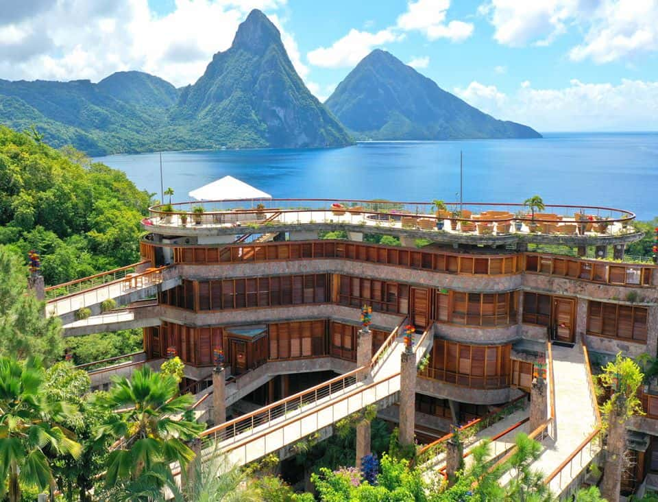 Heavenly suites with private pools are the hallmark of Jade Mountain Resort