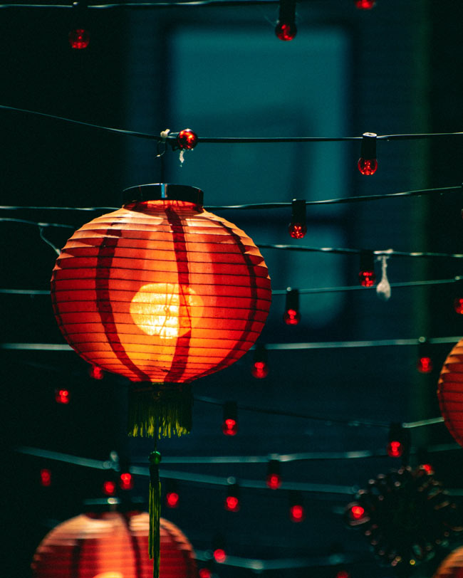 Lanterns glow in Victoria's Chinatown, the oldest in Canada.