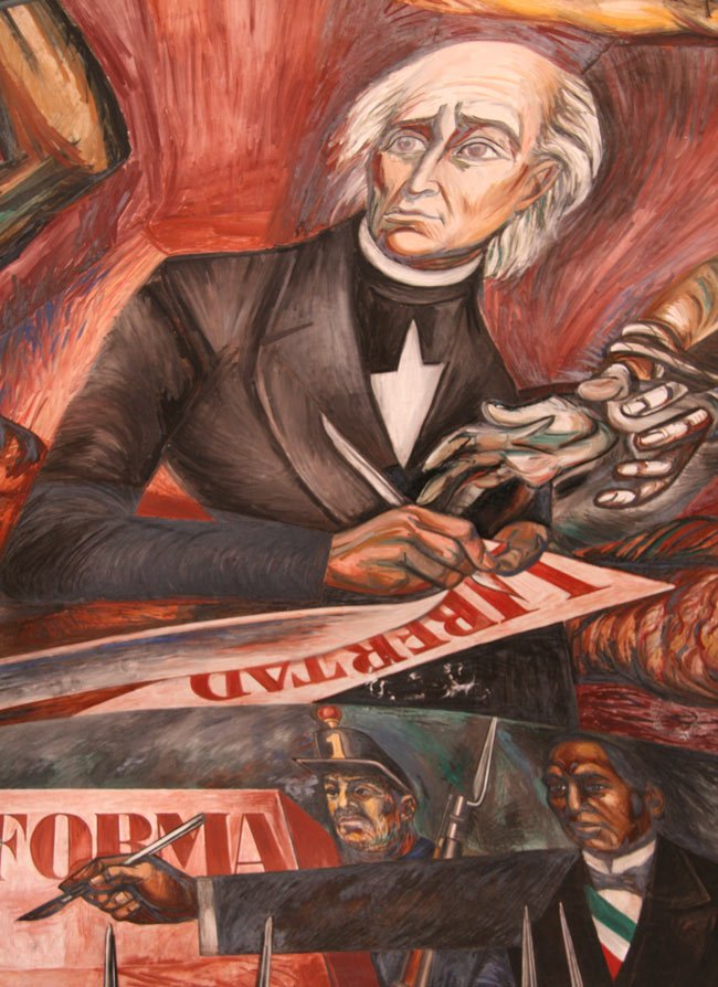 Orozco's mural of Miguel Hidalgo, Mexico's father of Independence, signing a document banning slavery in 1810