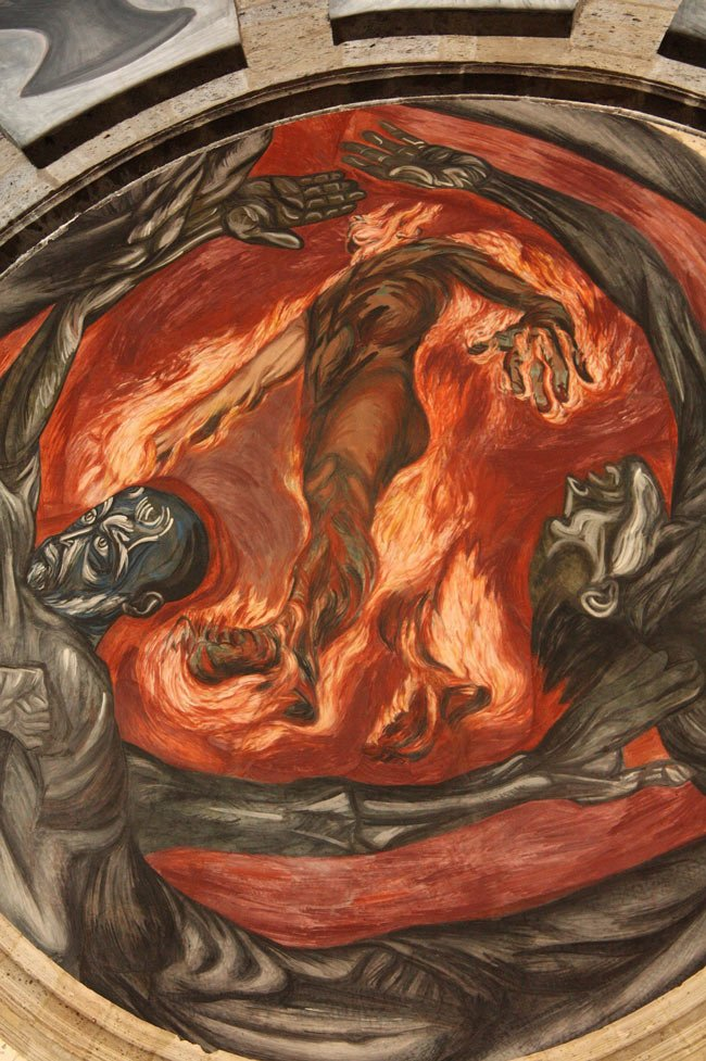 "The ""Man of Fire"" is one of Orozco's most famous murals."