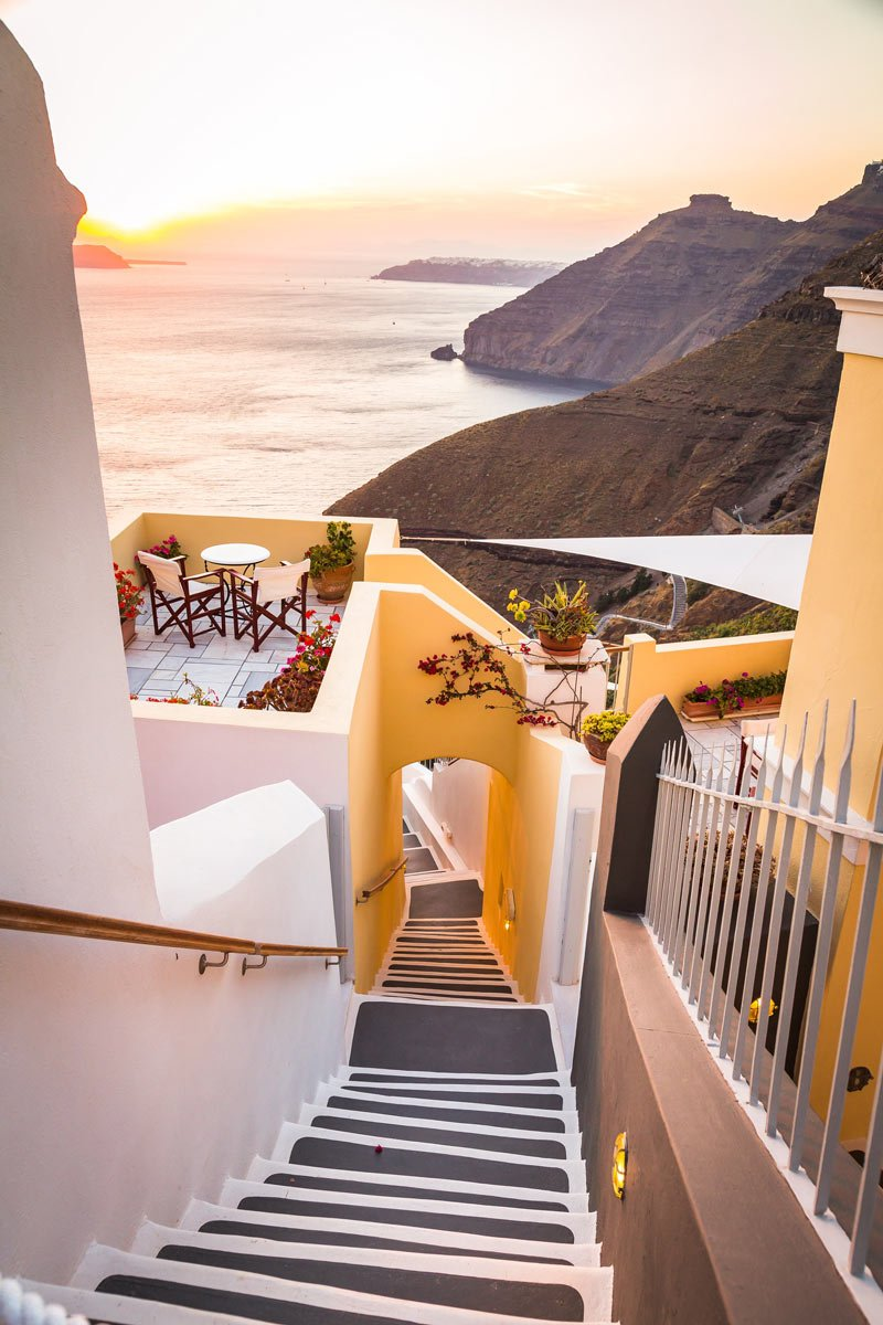 Walking up and down in Santorini is like getting an outdoor stairmaster workout.