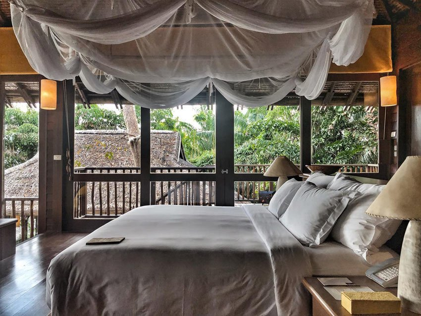 Bedrooms at Six Senses Yao Noi, Thailand, are cool cocoons of comfort.