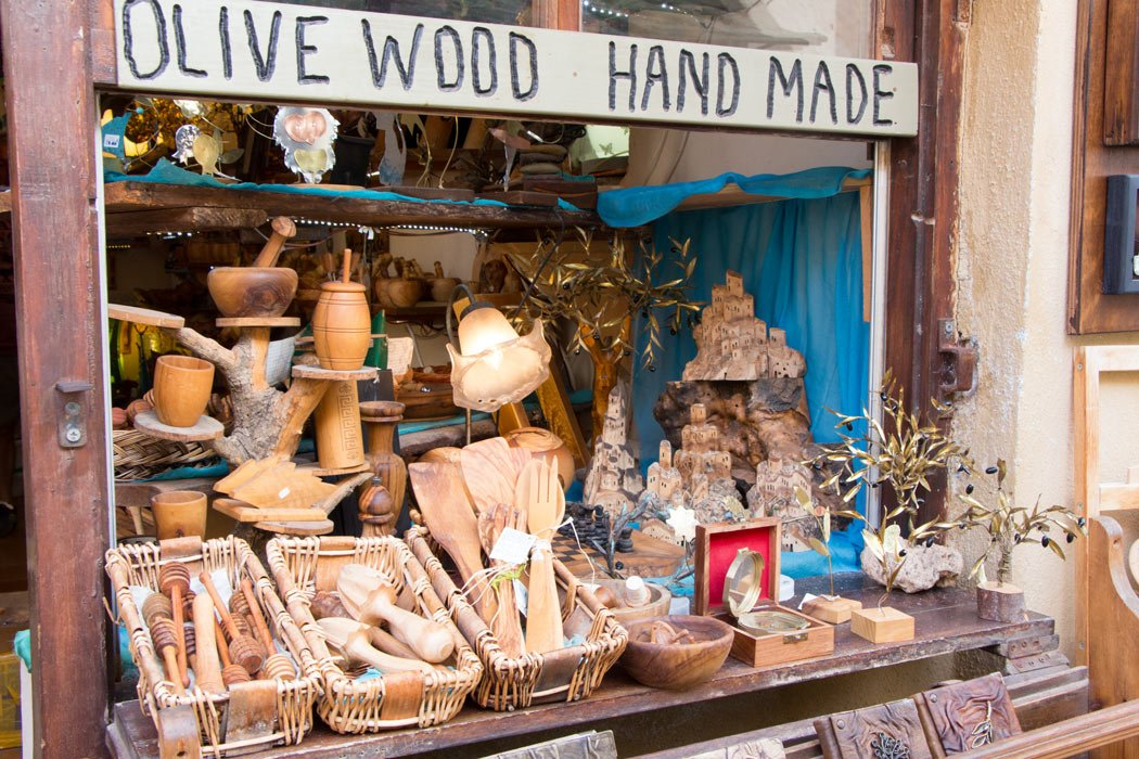 Olive-wood souvenirs for sale in Greece