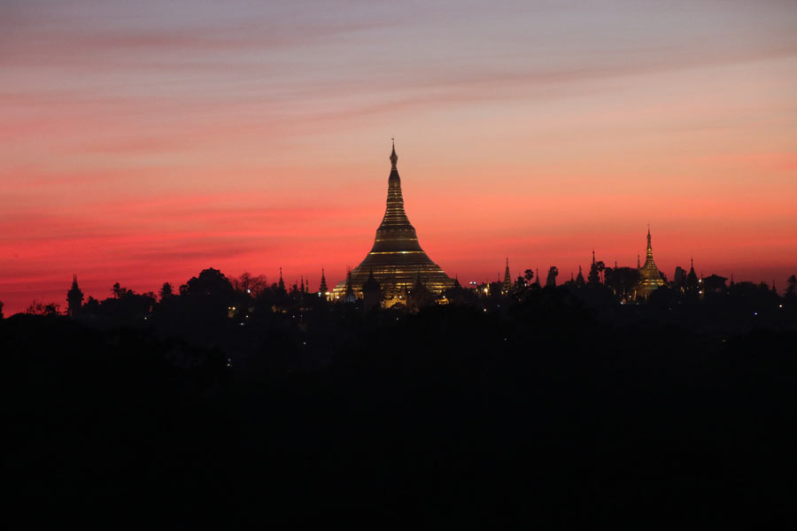 The sunsets are amazing in Yangon!